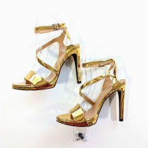 NEW Zara Metallic Gold Strappy Stiletto Sandals 7